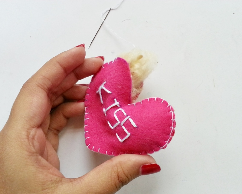 Cross Stitched Heart Plushies