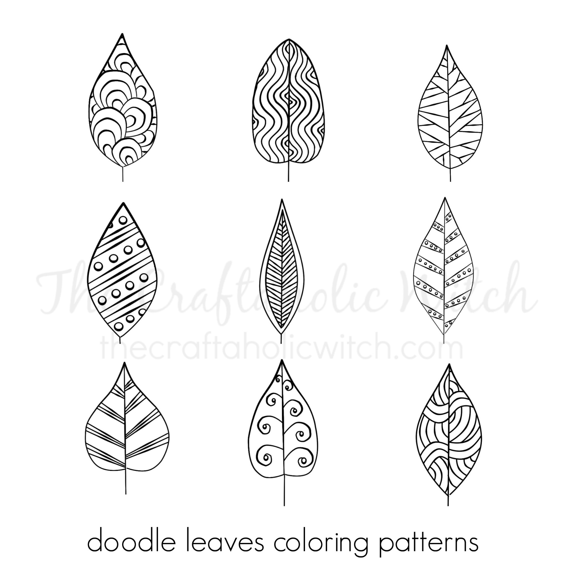Doodle Leaves Coloring Patterns The Craftaholic Witch