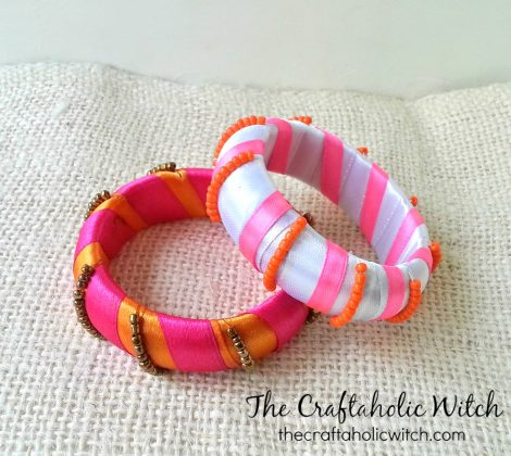 Create Ribbon Wrapped Beaded Bangles