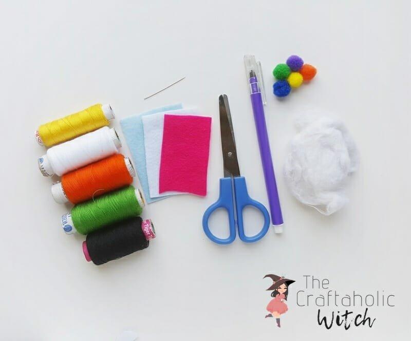 Supplies image for felt llama plush