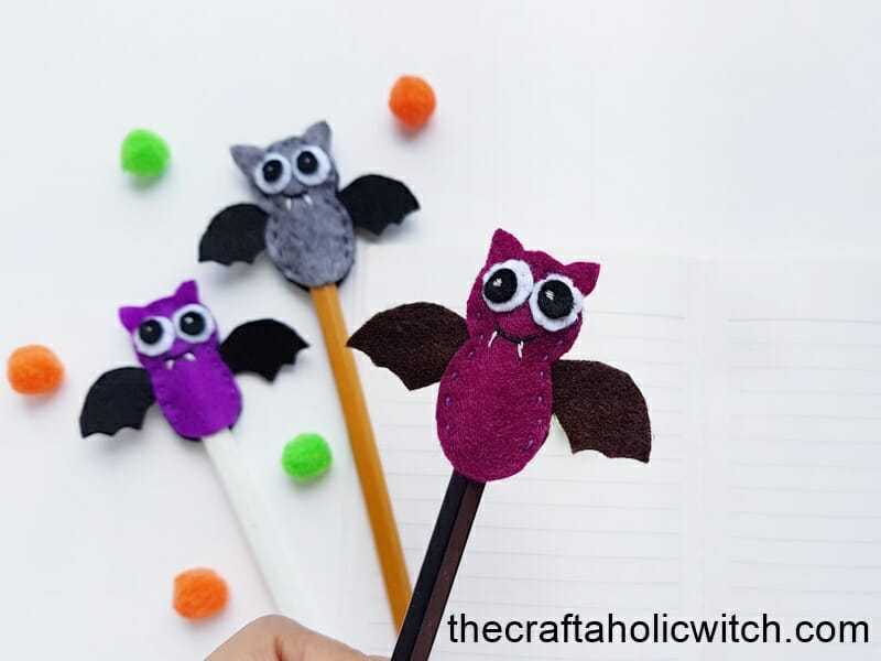 DIY bat pencil toppers