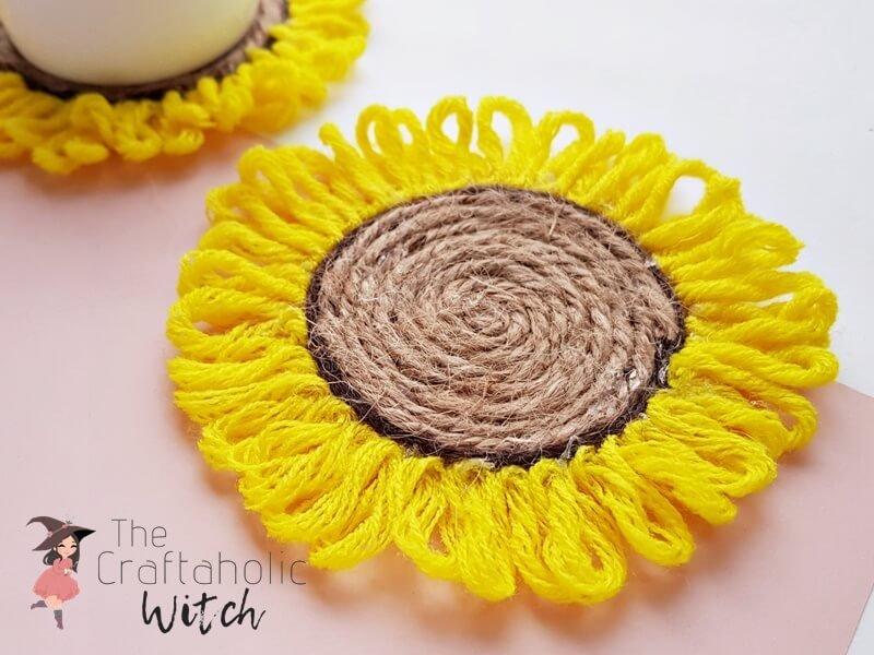 DIY sunflower coasters