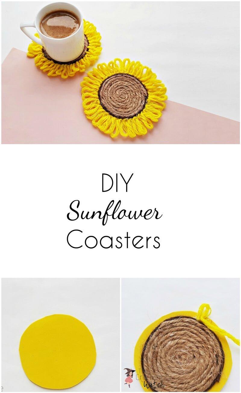 DIY Sunflower Coasters ( Easy Step by Step Tutorial)
